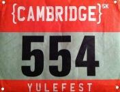 Cambridge 5K Yulefest bib